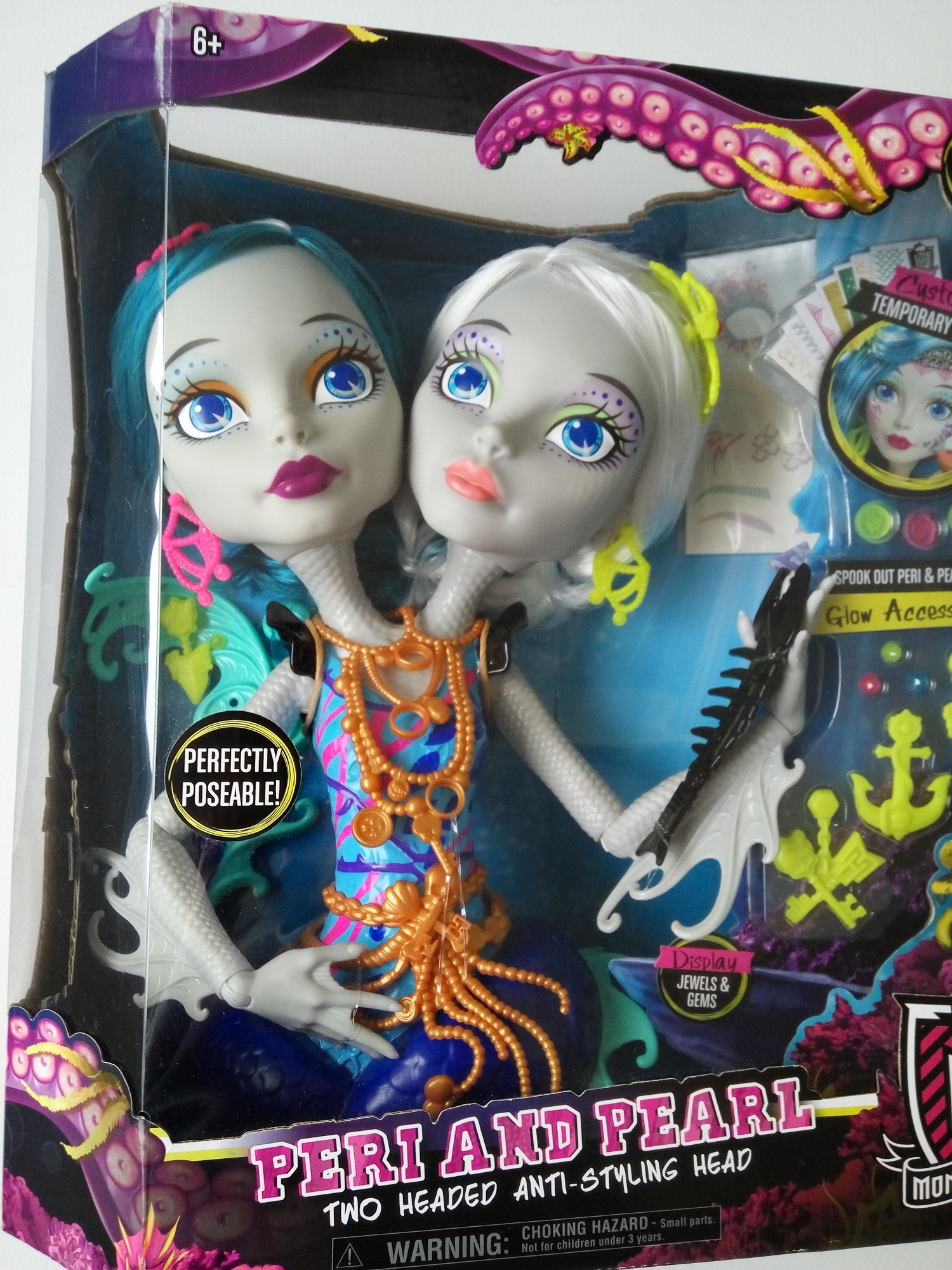 Monster High česací hlava Peri a Pearl