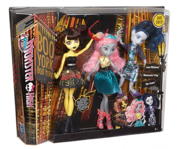 Monster High Boo York trojice panenek Luna Mothews, Mouscedes King, Elle Eedee